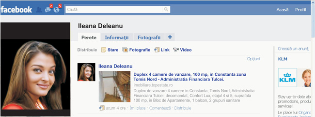 exemplu transmis / shared pe Facebook