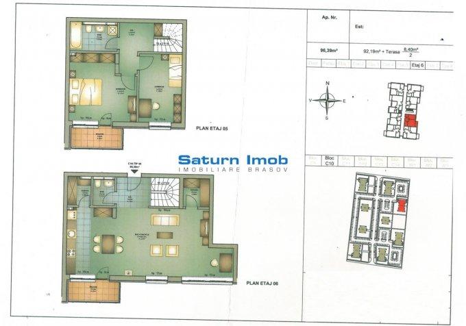 Apartament de vanzare direct de la agentie imobiliara, in Brasov, in zona Avantgarden, cu 89.990 euro. 2 grupuri sanitare, suprafata utila 92 mp.