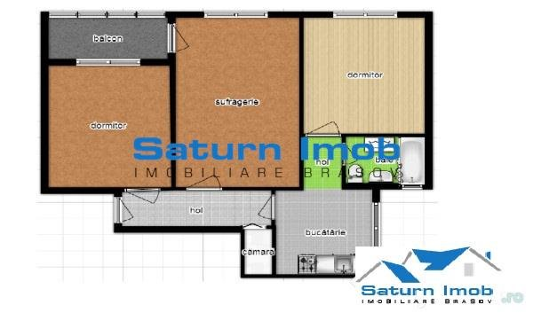 Apartament de vanzare in Brasov cu 3 camere, cu 1 grup sanitar, suprafata utila 58 mp. Pret: 58.000 euro.