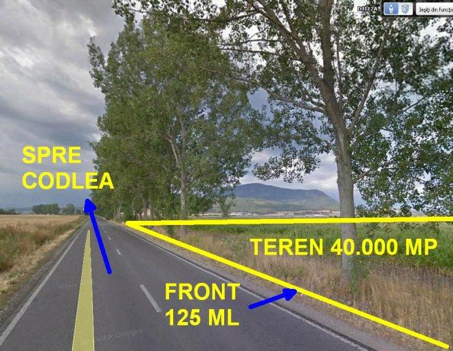 de vanzare teren extravilan in suprafata de 40000 mp si deschidere de 125 metri. In orasul Codlea.