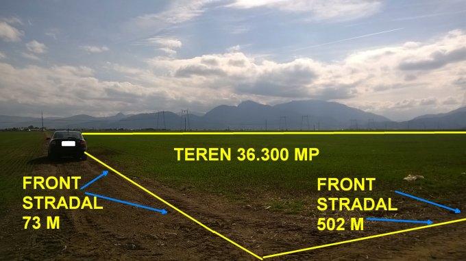 Teren agricol extravilan 36300 mp, deschidere 502 metri. Pret 60.000 euro. agentie imobiliara vand teren agricol. Utilitati: Apa.