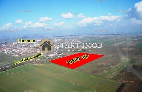 Teren agricol extravilan de vanzare in Harman. Suprafata terenului 79500 metri patrati, deschidere 174 metri. Pret: 10 euro. Destinatie: Fabrica, Depozit, Ferma, Agricultura.