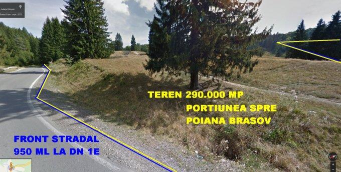 de vanzare teren intravilan cu suprafata de 290000 mp si deschidere de 900 metri. In localitatea Poiana Brasov. Utilitati: Gaze, Curent electric 220V, Curent electric 380V, Apa, Canalizare.