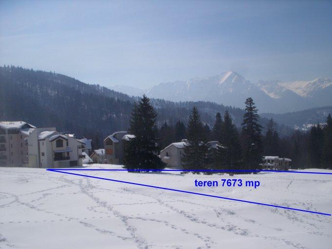 Teren intravilan de vanzare in Predeal, zona Trei Brazi. Suprafata terenului 7520 metri patrati, deschidere 50 metri. Pret:  EUR. Destinatie: Rezidenta, Vacanta, (mini) Hotel / Pensiune.