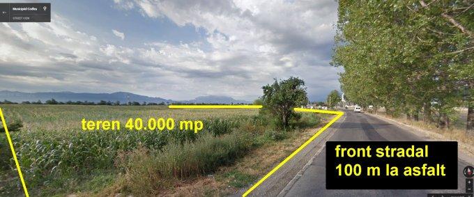 Teren intravilan de vanzare in Codlea, zona Exterior Est. Suprafata terenului 40000 metri patrati, deschidere 100 metri. Pret:  EUR. Destinatie: Hala productie, Depozit.
