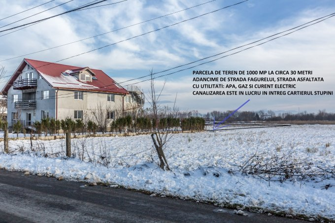 Teren intravilan de vanzare in Brasov, zona Stupini. Suprafata terenului 1000 metri patrati, deschidere 30 metri. Pret: 30.000 euro.
