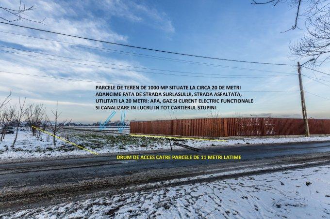 de vanzare teren intravilan cu suprafata de 1000 mp si deschidere de 26 metri. In orasul Brasov, zona Stupini. Utilitati: Gaze, Curent electric 220V, Apa, Canalizare.