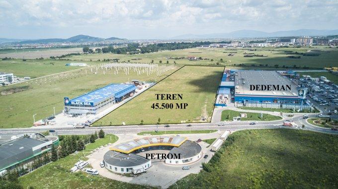 Teren intravilan de vanzare in Brasov, zona Grivitei. Suprafata terenului 45500 metri patrati, deschidere 120 metri. Pret: 3.185.000 euro. Destinatie: Comercial.