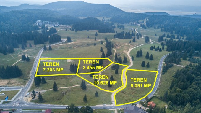 Teren intravilan de vanzare direct de la agentie imobiliara, in Poiana Brasov, cu  EUR. Suprafata de teren 9091 metri patrati cu deschidere de 150 metri.
