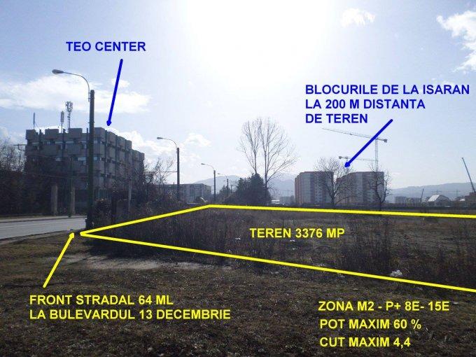 de vanzare teren intravilan cu suprafata de 3376 mp si deschidere de 64 metri. In orasul Brasov, zona 13 Decembrie. Utilitati: Telefon, Internet, CATV, Gaze, Curent electric 220V, Apa, Canalizare.