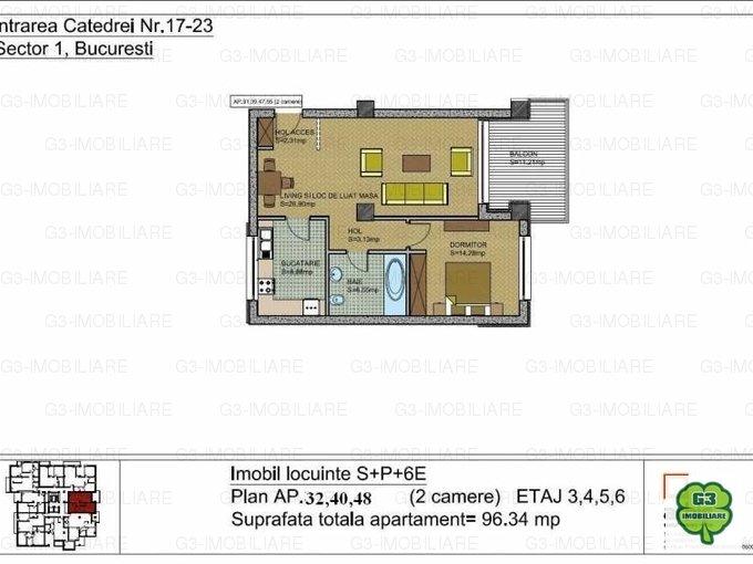 vanzare apartament decomandat, zona Herastrau, orasul Bucuresti, suprafata utila 72 mp
