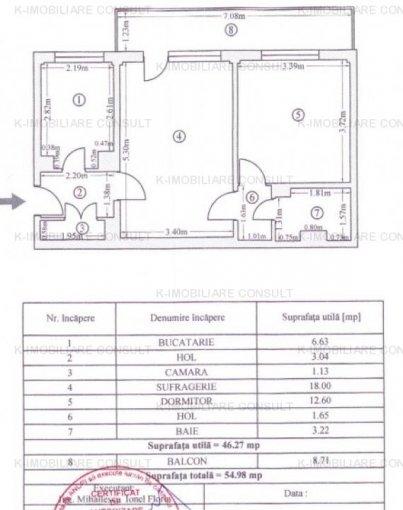 Apartament vanzare Morarilor cu 2 camere, etajul 9, 1 grup sanitar, cu suprafata de 55 mp. Bucuresti, zona Morarilor.