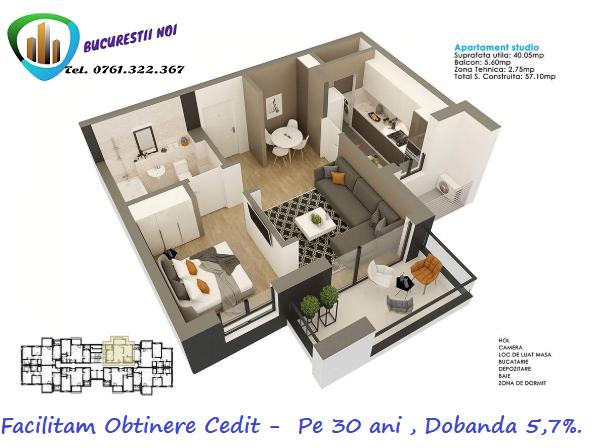 Apartament vanzare Bucuresti 2 camere, suprafata utila 45 mp, 1 grup sanitar, 1  balcon. 63.000 euro. Etajul 1 / 11. Destinatie: Rezidenta, Birou. Apartament Bucurestii Noi Bucuresti
