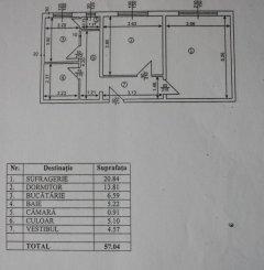 vanzare apartament decomandat, zona Arcul de Triumf, orasul Bucuresti, suprafata utila 57 mp
