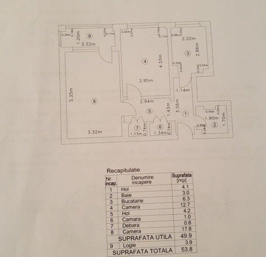 Apartament de vanzare in Bucuresti cu 2 camere, cu 1 grup sanitar, suprafata utila 54 mp. Pret: 66.500 euro negociabil.