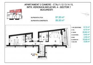 vanzare apartament decomandat, zona Piata Victoriei, orasul Bucuresti, suprafata utila 68 mp