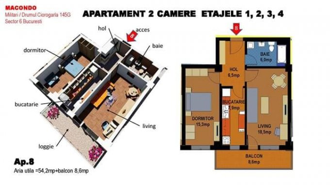 vanzare Apartament Bucuresti cu 2 camere, cu 1 grup sanitar, suprafata utila 54.2 mp. Pret: 58.000 euro.