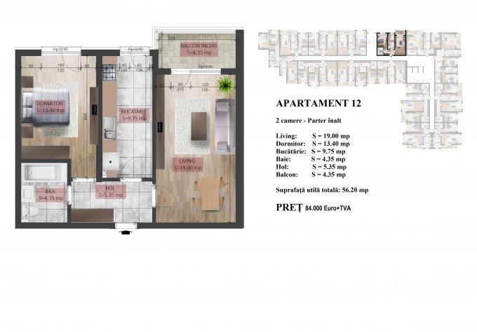 Apartament vanzare Mihai Bravu cu 2 camere, la Parter / 5, 1 grup sanitar, cu suprafata de 58 mp. Bucuresti, zona Mihai Bravu.