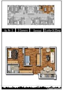 Apartament de vanzare direct de la proprietar, in Bucuresti, in zona Militari, cu 61.500 euro. 2 grupuri sanitare, suprafata utila 70 mp.