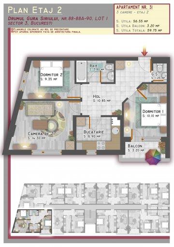 Duplex vanzare 1 Decembrie 1918 cu 3 camere, etajul 2 / 2, 2 grupuri sanitare, cu suprafata de 60 mp. Bucuresti, zona 1 Decembrie 1918.