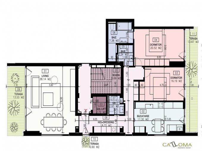 Apartament de vanzare direct de la agentie imobiliara, in Bucuresti, in zona Aviatorilor, cu 488.000 euro. 3 grupuri sanitare, suprafata utila 125 mp.