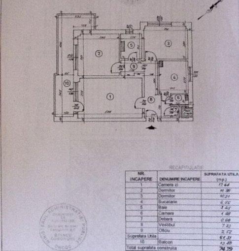 Apartament vanzare 1 Mai cu 3 camere, etajul 3 / 8, 1 grup sanitar, cu suprafata de 62 mp. Bucuresti, zona 1 Mai.