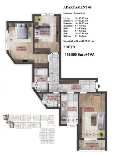 Apartament de vanzare direct de la agentie imobiliara, in Bucuresti, in zona Mihai Bravu, cu 118.000 euro. 1  balcon, 2 grupuri sanitare, suprafata utila 79 mp.