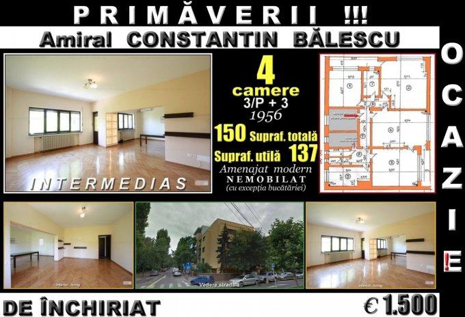 Apartament inchiriere Primaverii cu 4 camere, etajul 3 / 3, 2 grupuri sanitare, cu suprafata de 137 mp. Bucuresti, zona Primaverii. Semi-mobilat.