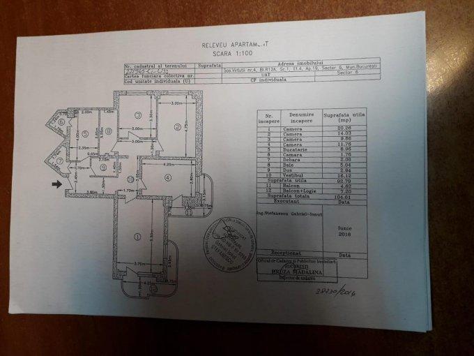 Apartament vanzare Bucuresti 4 camere, suprafata utila 93 mp, 2 grupuri sanitare. 99.000 euro negociabil. Etajul 4 / 9. Apartament Virtutii Bucuresti