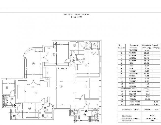 Apartament de inchiriat in Bucuresti cu 5 camere, cu 2 grupuri sanitare, suprafata utila 210 mp. Pret: 2.400 euro. Usa intrare: Metal. Usi interioare: Lemn. Nemobilat.