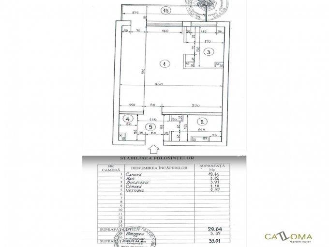 Garsoniera de vanzare in Bucuresti, cu 1 grup sanitar, suprafata utila 29 mp. Pret: 41.990 euro.