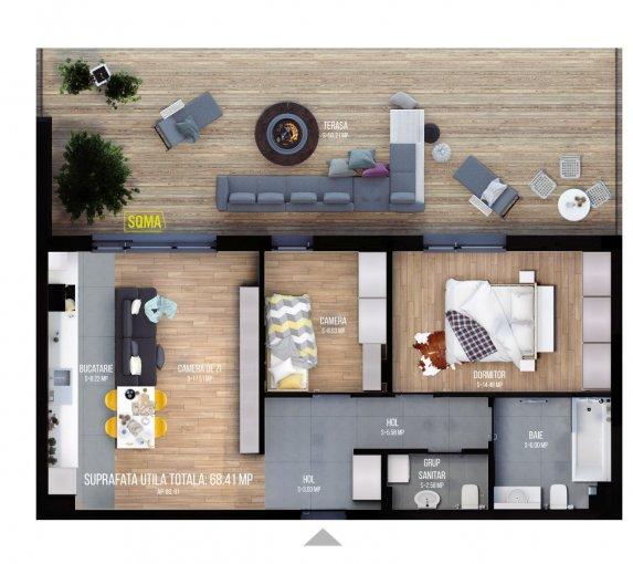 Apartament vanzare Iris cu 3 camere, etajul 6 / 6, 1 grup sanitar, cu suprafata de 68.41 mp. Cluj Napoca, zona Iris.