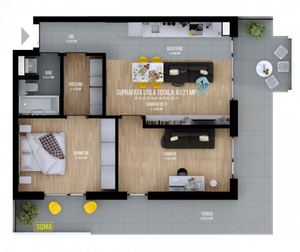 vanzare Apartament Cluj Napoca cu 3 camere, cu 1 grup sanitar, suprafata utila 61.22 mp. Pret: 74.700 euro. Incalzire: Centrala proprie a locuintei.
