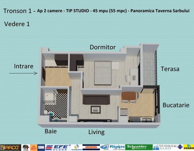 Apartament vanzare Constanta 2 camere, suprafata utila 46 mp, 1 grup sanitar, 1  balcon. 59.900 euro. Etajul 5 / 6. Destinatie: Rezidenta, Birou, Comercial, Vacanta. Apartament Campus Constanta