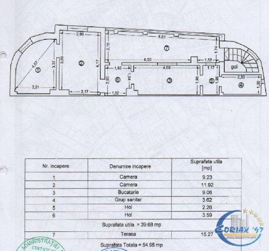Apartament de vanzare in Constanta cu 2 camere, cu 1 grup sanitar, suprafata utila 55 mp. Pret: 43.000 euro.