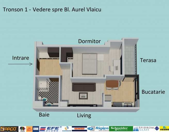 Apartament de vanzare in Constanta cu 2 camere, cu 1 grup sanitar, suprafata utila 41 mp. Pret: 47.000 euro. Usa intrare: Metal.