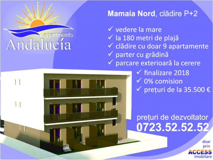 Apartament vanzare Mamaia Nord cu 2 camere, la Parter / 2, 1 grup sanitar, cu suprafata de 43.08 mp. Constanta, zona Mamaia Nord.