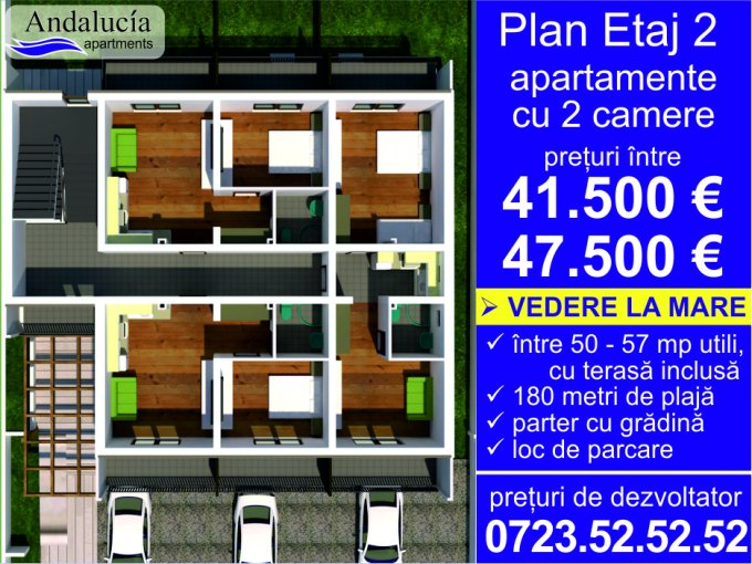 Apartament vanzare Mamaia Nord cu 2 camere, etajul 2, 1 grup sanitar, cu suprafata de 38.04 mp. Constanta, zona Mamaia Nord.