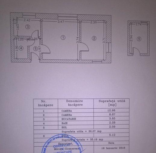 Apartament vanzare Centru cu 2 camere, etajul 3, 1 grup sanitar, cu suprafata de 30 mp. Constanta, zona Centru.