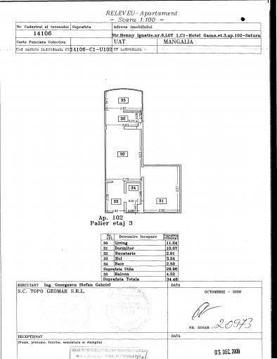 vanzare apartament semidecomandata, localitatea Saturn, suprafata utila 30 mp
