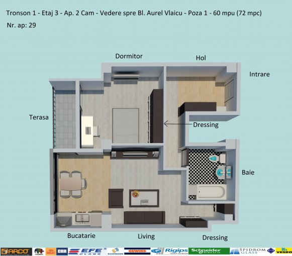 De vanzare apartamente cu 2 camere, cu 1 grup sanitar, suprafata utila 60 mp. Pret: 54.500 euro negociabil. Incalzire: Centrala proprie a cladirii. Racire: Aer conditionat.