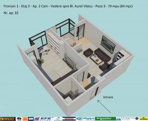 vanzare apartament decomandat, zona Campus, orasul Constanta, suprafata utila 70 mp