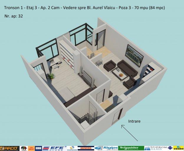 Apartament vanzare Constanta 2 camere, suprafata utila 70 mp, 1 grup sanitar, 3  balcoane. 79.800 euro negociabil. Etajul 3 / 6. Destinatie: Rezidenta, Birou, Comercial, Vacanta. Apartament Campus Constanta