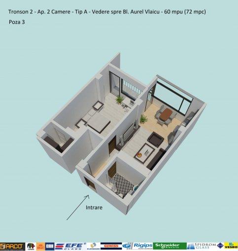 Apartament de vanzare direct de la dezvoltator imobiliar, in Constanta, in zona Campus, cu 68.400 euro negociabil. 1  balcon, 1 grup sanitar, suprafata utila 60 mp.