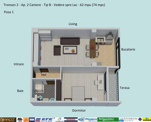 Apartament vanzare Campus cu 2 camere, etajul 2 / 5, 1 grup sanitar, cu suprafata de 62 mp. Constanta, zona Campus.