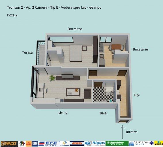 Apartament vanzare Campus cu 2 camere, etajul 1 / 6, 1 grup sanitar, cu suprafata de 66 mp. Constanta, zona Campus.