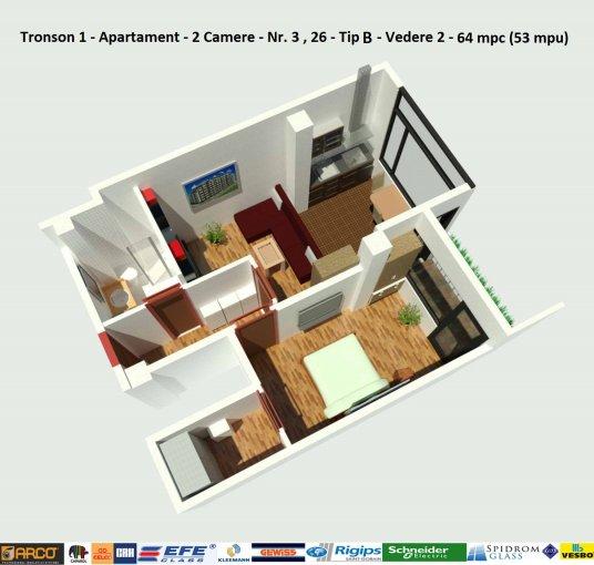 Apartament de vanzare direct de la dezvoltator imobiliar, in Constanta, in zona Campus, cu 51.500 euro negociabil. 1  balcon, 1 grup sanitar, suprafata utila 52 mp.