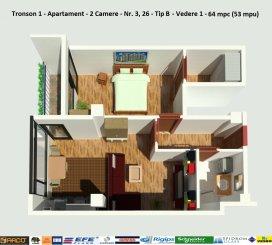 vanzare apartament decomandat, zona Campus, orasul Constanta, suprafata utila 52 mp