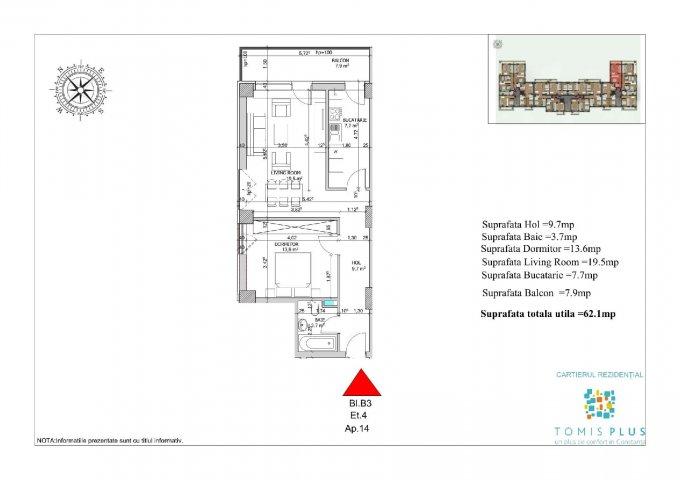 Apartament vanzare Constanta 2 camere, suprafata utila 62.1 mp, 1 grup sanitar, 1  balcon. 59.500 euro. Etajul 4 / 9. Destinatie: Rezidenta, Vacanta. Apartament Tomis Plus Constanta