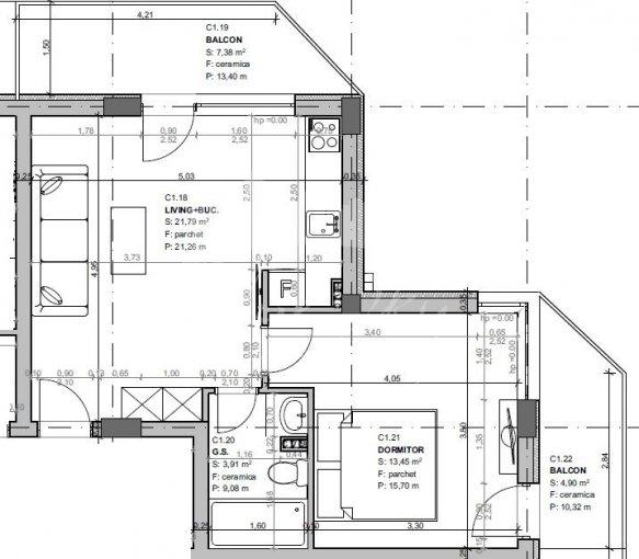 vanzare Apartament Constanta cu 2 camere, cu 1 grup sanitar, suprafata utila 55 mp. Pret: 54.000 euro negociabil.